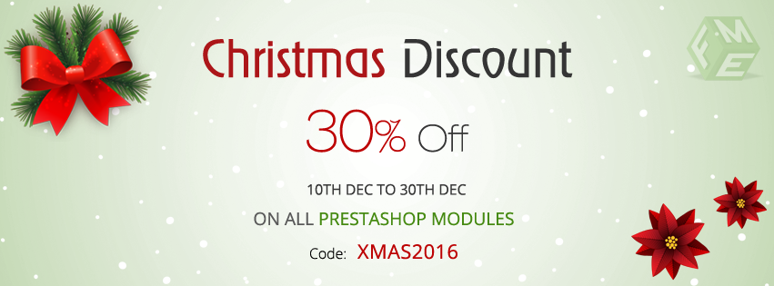 Christmas Sales to Save 30% on all our PrestaShop Modules and Services